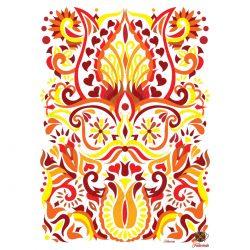 Szív folyam sárga piros ornamentika